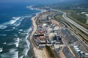 Aerial of nuclear power plant on California coast USA