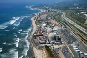 Aerial of nuclear power plant on California coast USA