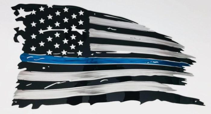 Tattered Thin Blue Line Flag